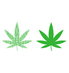 Cannabis collage of binary digits vector