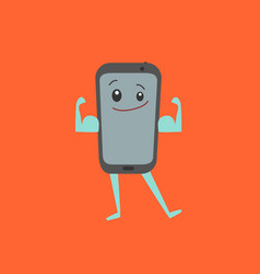 Cartoon character strong smartphone mobile phone vector