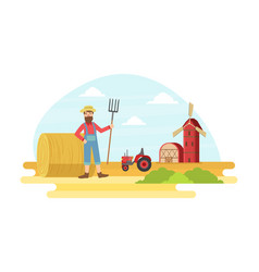 cheerful male farmer with pitchfork at summer vector image