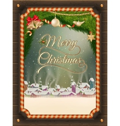 Christmas frame with winter village vector