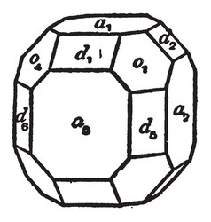 Clinographic drawing of a cubic crystal vintage vector
