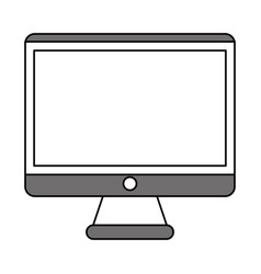 Color silhouette image square lcd monitor screen vector