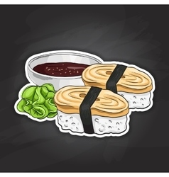 color sticker Tamago Nigiri Sushi vector image