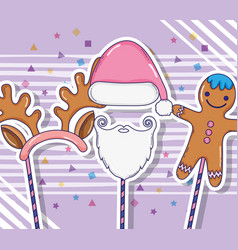 Cookie character with sant claus costume and vector