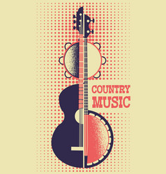 country music poster background with musical vector image