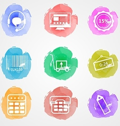 Creative colored icons for trade online vector image