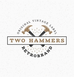 Crossed Hammers Vintage Retro Design Elements for vector image