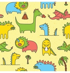 Dino seamless pattern yellow vector