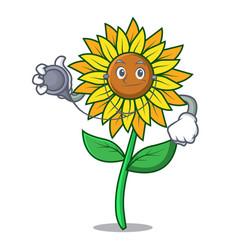Doctor sunflower character cartoon style vector