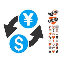 Dollar yen exchange icon with love bonus vector