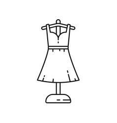 Dress on floor hanger linear icon atelier vector