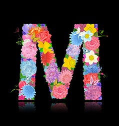 Fancy letter of beautiful flowers on black vector image