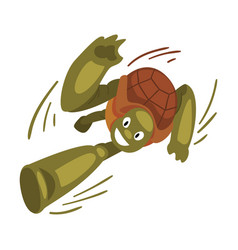 Fast funny turtle running tortoise animal cartoon vector