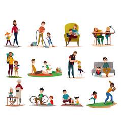 Fatherhood raising children set vector