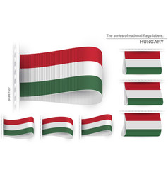 Flag tag clothes label sticker sewn set hungary vector