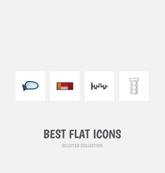 Flat icon auto set of headlight packing auto vector