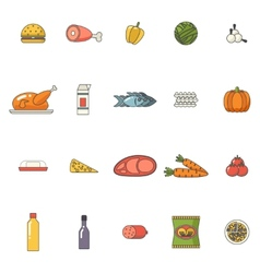 Food Icons Set Meat Fish Vegetables Drinks for vector