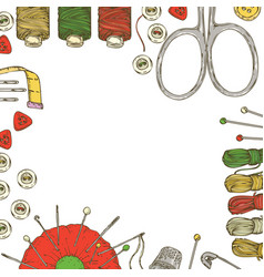 Frame with sewing supplies and accessories vector