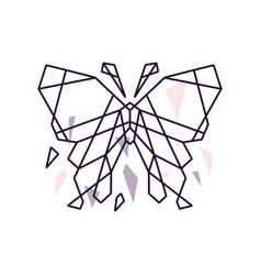 Geometric butterfly mosaic outline logo icon vector