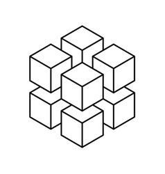 Geometric cube of 8 smaller isometric cubes vector