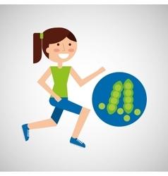 Girl jogger peas healthy lifestyle vector