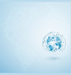 global network connection polygonal world map dot vector image