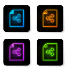 glowing neon share file icon isolated on white vector image