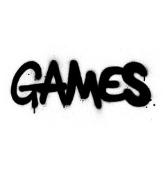 graffiti games word sprayed in black over white vector image