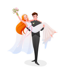 groom holds bride in his hands happy couple vector image