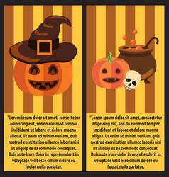 Halloween pumpkins and cast-iron vat of potion vector