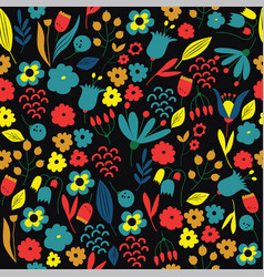 Hand drawn floral pattern colorful vector