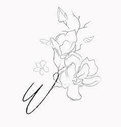 Handwritten line drawing floral logo monogram w vector