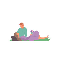 happy loving couple young boyfriend and girlfriend vector image
