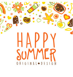 happy summer banner template with holiday symbols vector image