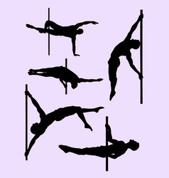 healthy male pole dance silhouette vector image