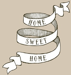 Home sweet home ribbon vector image