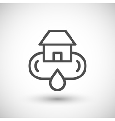 Home water supply system line icon vector