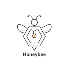 Honeybee like thin line logo vector