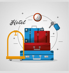 Hotel luggage trolley stacked suitcases and clock vector