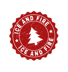 ice and fire grunge stamp seal with fir-tree vector image