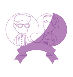 Isolated newlywed couple banner vector