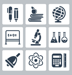 isolated school icons set vector image