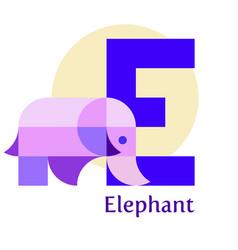 letter e - elefant vector image