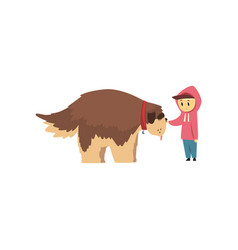 Little boy walking with big brown dog cute pet vector