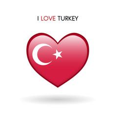 love turkey symbol flag heart glossy icon on a vector image