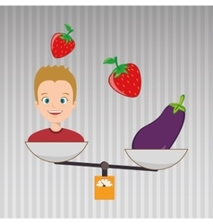 Man cartoon vegetable organic balance vector