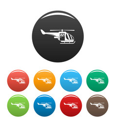 military helicopter icons set color vector image
