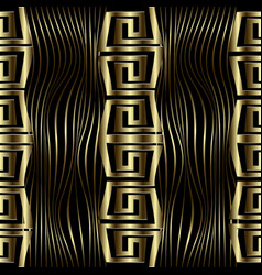 Modern gold 3d wave lines greek seamless pattern vector