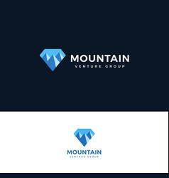 mountain icon diamond shape with mountain logo vector image