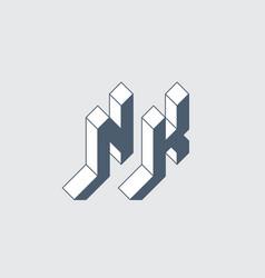 Nk - logo or 2-letter code isometric 3d font for vector